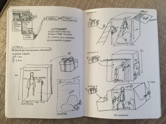 Initial design sketches for the Hermeneutobooth.